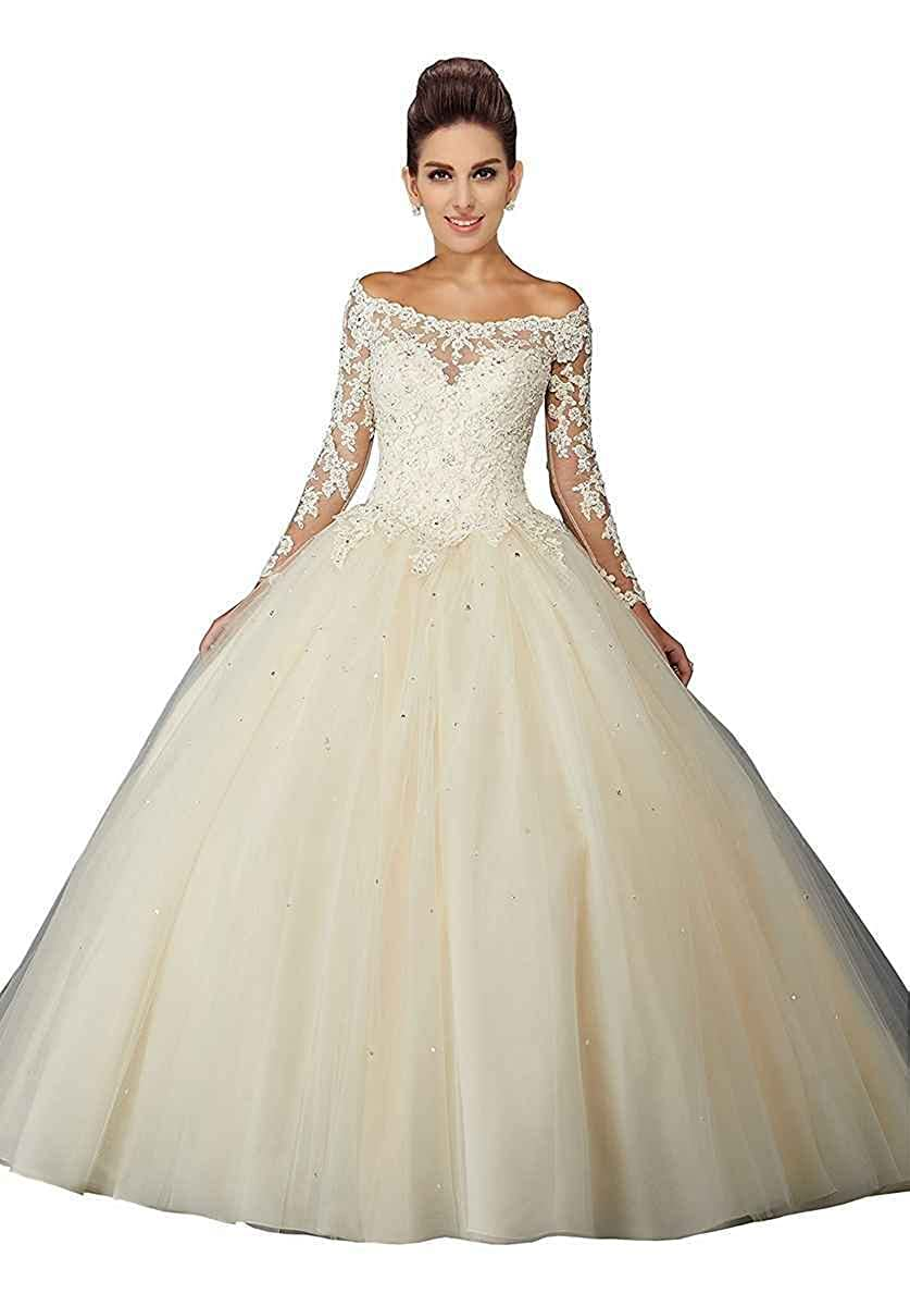 Champagne LastBridal Women Off The Shoulder Long Sleeves Lace Beaded Sweet 16 Ball Gowns Quinceanera Dresses LB0175 bluee
