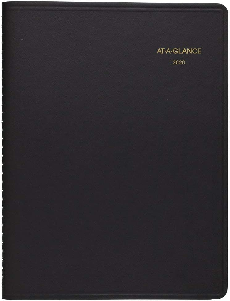 """AT-A-GLANCE 2020 Daily Appointment Book, Planner, 8"""" x 11"""", Large, Two Person Group Book, Black (7022205)"""