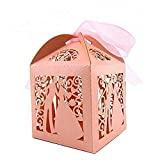 Tinksky 100pcs Couple Design Luxury Lase Cut Wedding Sweets Candy Gift Favour Boxes with Ribbon Table Decorations Wedding Favors (Pink)