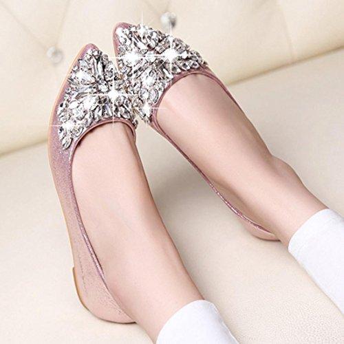 Saihui Women's Ladies Rhinestone Low Heel Flat Shoes Pointed Toe Shoes Casual Pink iV7MQQ