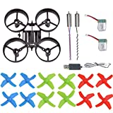 AVAWO H36 & E010 Quadcopter Spare Parts Crash Pack Kit Replacement, Main Blade Propellers & Motor & Propeller Protectors Blades Frame & Battery & USB Charging for JJRC H36 & Eachine E010 Mini UFO
