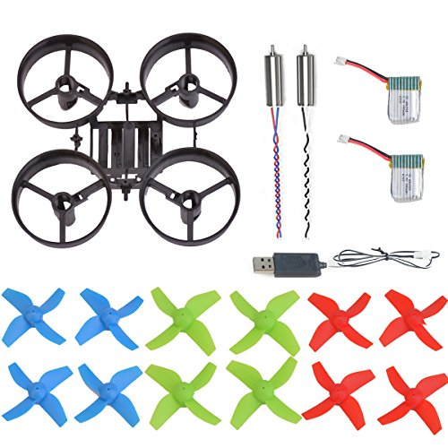 AVAWO H36 & E010 Quadcopter Spare Parts Crash Pack Kit Replacement, Main Blade Propellers & Motor & Propeller Protectors Blades Frame & Battery & USB Charging for JJRC H36 & Eachine E010 Mini UFO - Mains Usb