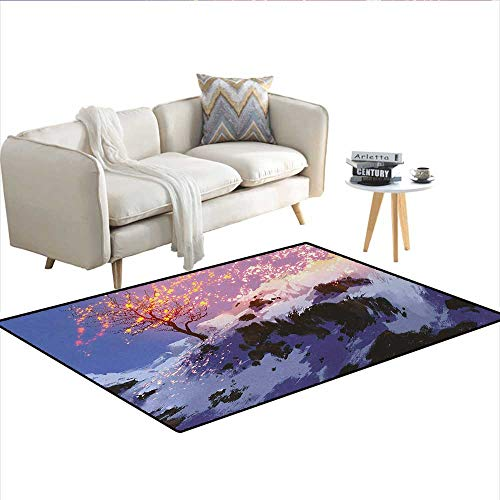 Carpet,Magical Landscape with Showing Bare Tree in Idyllic Winter Valley with Snow Print,Print Area Rug,MulticolorSize:55