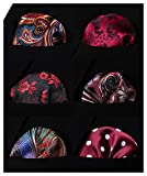 HISDERN 6 Piece Assorted Colors Woven Men's Pocket Square Handkerchief Wedding Party Gift