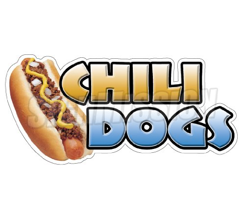 CHILI DOGS Concession Decal trailer hot dog cart stand