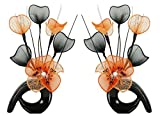Matching Pair of Black Vases with Orange Artificial Flowers, Ornaments for Living Room, Window Sill, Home Accessories, 32cm