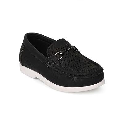 Alrisco EK39 Leatherette Round Toe Perforated Chain Slip On Loafer (Little Boy/Big Boy/Toddler) - Black