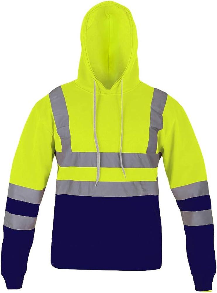 AK Garments Hi Vis Hooded Sweatshirt High Visibility Reflective Tape Band Work Fleece Safety Hoodie Sweat Shirts Warm Security Workwear Work Wear Jumper Tops