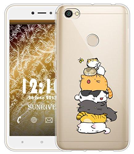 Funda Para Xiaomi Redmi Note 5A Prime 5,5 pulgadas, Sunrive Silicona Funda Slim Fit Gel Transparente Carcasa Case Bumper de Impactos y Anti-Arañazos Espalda Cover(tpu Gato 2)+1 x Lápiz óptico tpu Gato 3