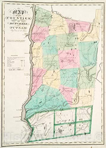- Historic Map | 1829 New York (N.Y.), Map of the counties of Dutchess and Putnam | Vintage Wall Décor | 18in x 24in
