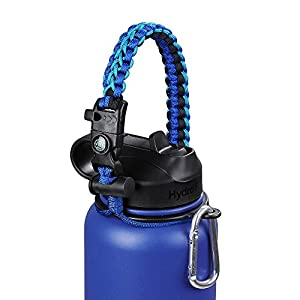 Hydro Flask Paracord Handle Holder, Glink General Hydro Flask Nalgene CamelBak for Wide Mouth Water Bottle  Carrier, Strap Cord with Safety Ring and Carabiner, 10 Colors (Blue/Navy Blue)