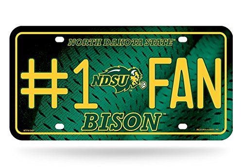 Rico NCAA North Dakota State Bison #1 Fan Metal License Plate Tag, Green, 6