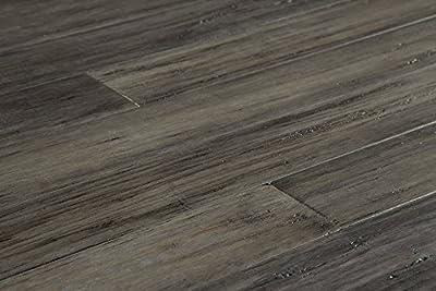 "YanchiBamboo Flooring - Handscraped Strand Woven Collection 70 4/5"" x 3 4/5"" x 1/2"" - Antique Steel"