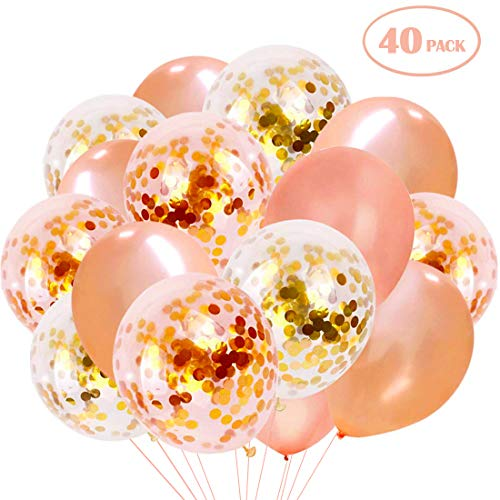 WEANMIX Rose Gold Confetti Balloons, 40PCS Latex Party Balloons Set for Weddings Birthday Graduation, Holiday, Bridal & Baby Shower, Bachelorette 12 Inch