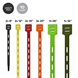 ONE TIE Reusable Tie Strap, Assorted, 10 pack