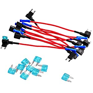 12V Add-a-circuit Dual Fuse Tap Adapter Mini ATM APM Blade Fuse Holder for Car, Motorcycle& Truck 10 Pack with 10 Pieces 15A Blade Fuses by Queenti