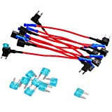#4: 12V Add-a-circuit Dual Fuse Tap Adapter Mini ATM APM Blade Fuse Holder for Car, Motorcycle& Truck 10 Pack with 10 Pieces 15A Blade Fuses by Queenti