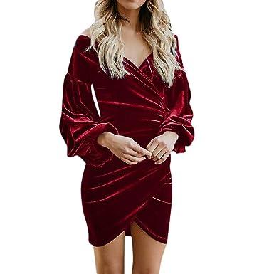 e1eeca599 Xmiral Vestido Mini de Terciopelo para Fiesta Cóctel Dress Cuello V para  Invierno Plisado Color Sólido