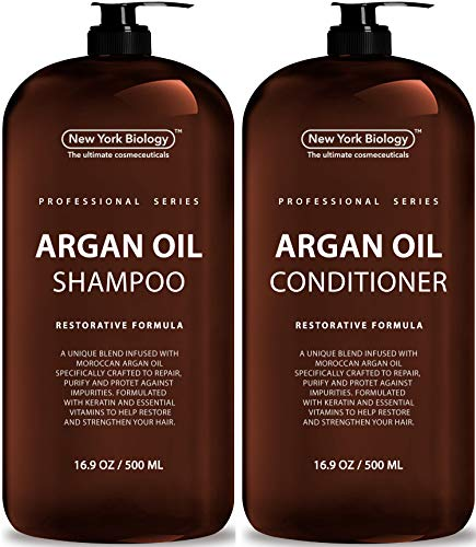 New York Biology Moroccan Argan Oil Shampoo and Conditioner - All Natural - Moisturizing and Volumizing Professional Series Restorative Formula - Infused with Keratin and Sulfate Free - Huge 16 oz (Best Natural Moisturizing Shampoo)