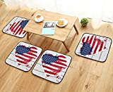 Leighhome Modern Chair Cushions Collection USA Flag in Heart Shape on Wood Wall Live Nation Holiday Splatter Convenient Safety and Hygiene W23.5 x L23.5/4PCS Set