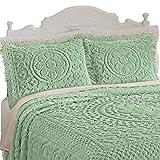 "vintage chenille bedspread  Calista Chenille Floral Design Pillow Sham with Fringe Border, 20"" W x 26"" L, Sage, Sham"