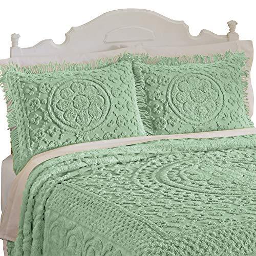 "Calista Chenille Floral Design Pillow Sham with Fringe Border, 20"" W x 26"" L, Sage, Sham"