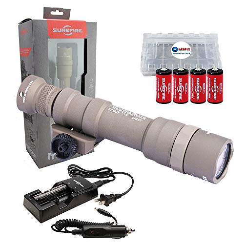 SureFire M600DF Scout Ultra Dual Fuel LED Scout Light 1500 Lumens with 4 Extra CR123A Batteries and Lightjunction Battery Box (Tan)
