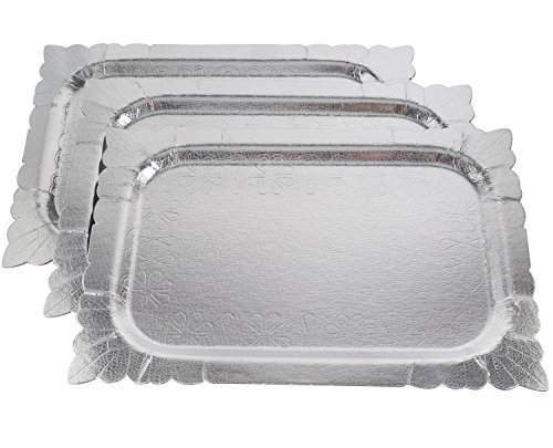 Pack of 3 Heavy Duty Disposable Silver Colored Trays
