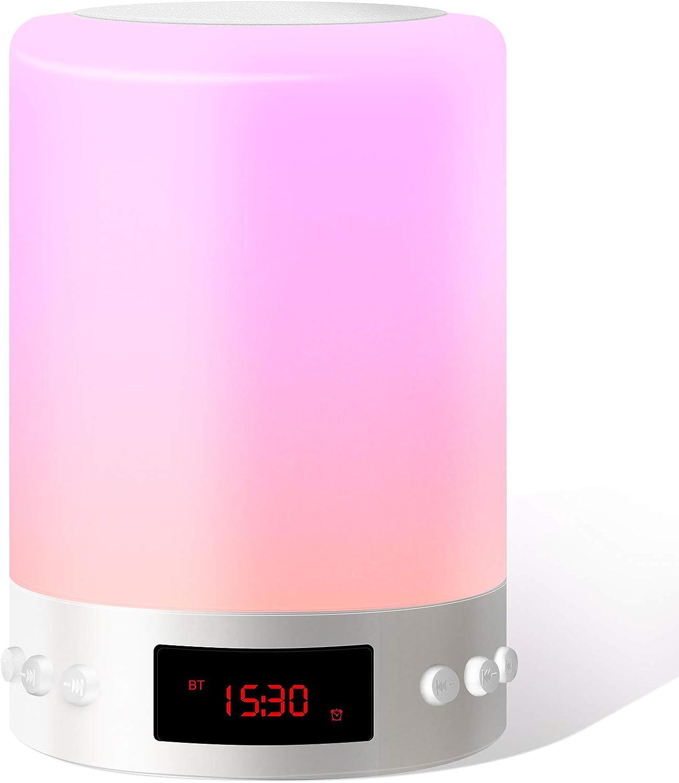Luces Nocturnas Altavoz Bluetooth,Swonuk Luz Nocturna Portátil Lámpara de Mesa LED Táctil 5 en 1 con Radio FM Reloj deSpertador Lámpara de Noche