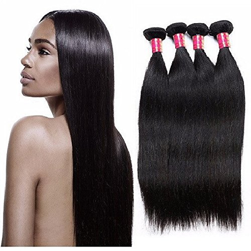 Hairticket 4 Bundles Straight Virgin Indian Hair Natural Color / 12 12 14 14