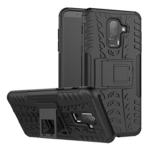 DWAYBOX Galaxy J8 2018 Cover Hybrid Rugged Heavy Duty Armor Hard Back Cover Case with Kickstand for Samsung Galaxy J8 2018 6.0 Inch (Black)