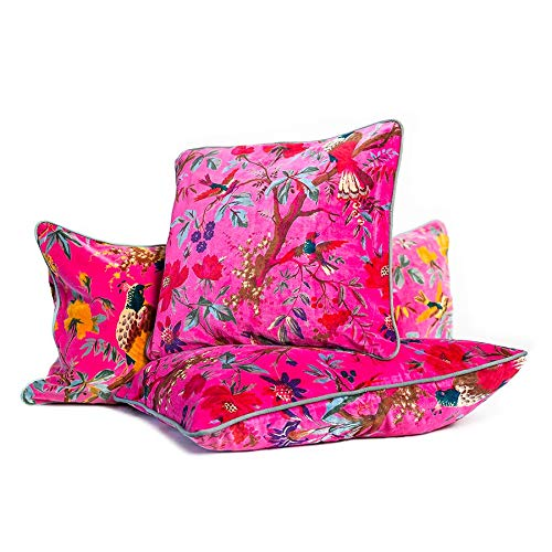 Magenta Velvet Bird Print Cushion - Square 50cm Cushion Cover