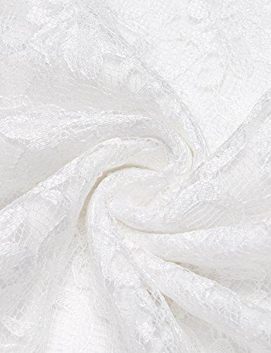 Abito Acevog Lungo Bianco V Floreale Pizzo Di Del Donne Sirena Retrò Sera Delle Collo Partito 5r56qwd