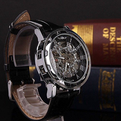 Shalleen Classic Men's Black Leather Dial Skeleton Mechanical Sport Army Wrist - India Ferrari Price