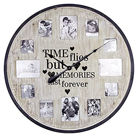DOWNTON INTERIORS Large Brown Photo Frame Memories Heart Wall Clock ...