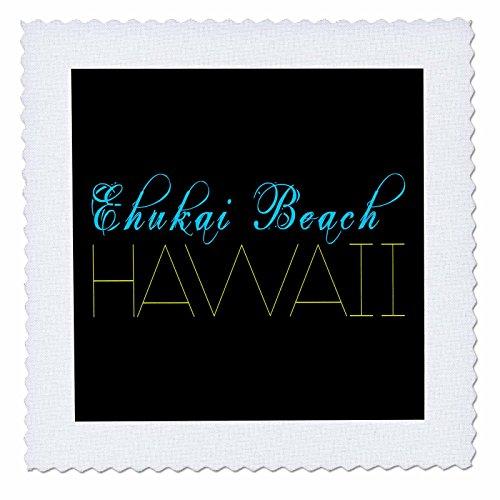3dRose Alexis Design - American Beaches - American Beaches - Enukai Beach, Hawaii, blue, yellow on black - 12x12 inch quilt square (qs_273969_4) by 3dRose