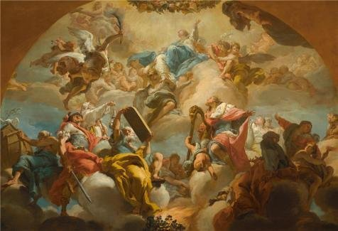 Oil Painting 'Gaetano Gandolfi,Assumption Of The Virgin With Old Testament Figures,1776-1779' Printing On High Quality Polyster Canvas , 18x26 Inch / 46x67 Cm ,the Best Kitchen Decoration And Home Artwork And Gifts Is This Vivid Art Decorative Prints On Canvas