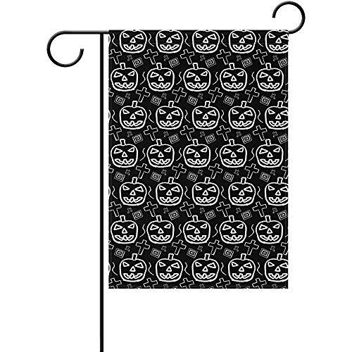 Staropor Hand-Skected Scary Halloween Pumpkin Pattern Polyester Garden Flag Outdoor Flag Home Party Garden Decor 12 x 18 Inch]()