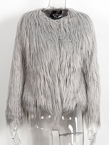 Women's Jacket Elegant Simplee Winter Apparel Fur Warm Faux Coat Long Outwear Autumn Grey Hair na16fvW1
