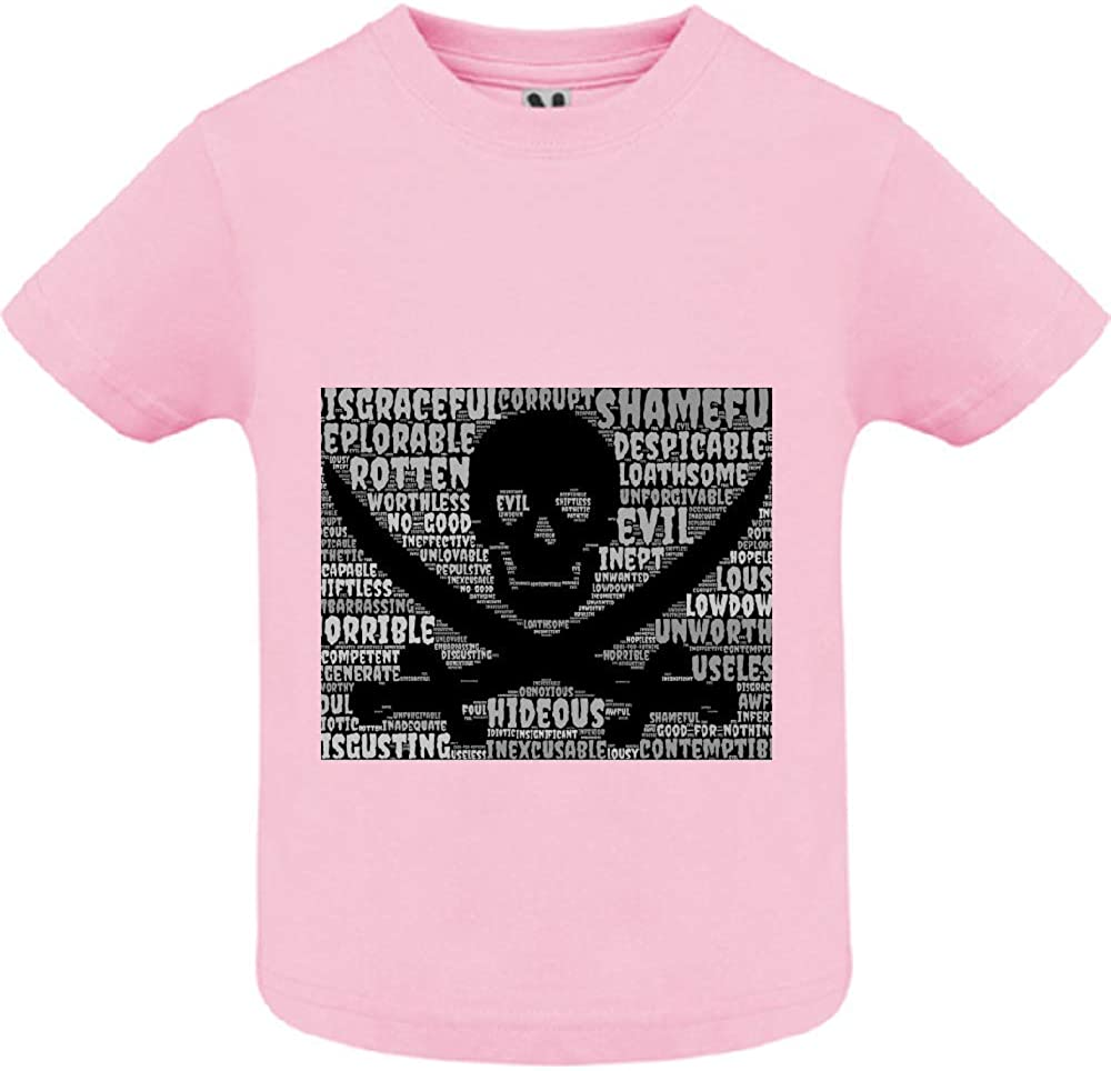 T-Shirt 2ans Tete de Mort 53 Col Rond B/éb/é Fille Rose Manche Courte