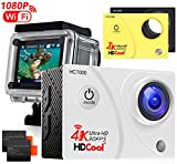 HDCool Action Camera 4K 170 Degree Waterproof Sports Camera 1080P HD 16MP Ultra Wide-Angle Lens DV Camcoder, 2.0 Inch LCD Display,Include 2 Rechargeable 900 mAh Batteries and 2 Covers