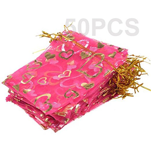 BCP Pack of 50pcs Heart Shaped Organza Drawstring Gift Bag Pouch Wrap for Party/game/wedding (4x4.7inches) (Hot Pink)