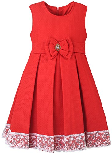 Lilax Little Girls' Solid A-Line Sleeveless Easter Toddler Party Dress 5T Red (School Girl Fancy Dress Ideas)