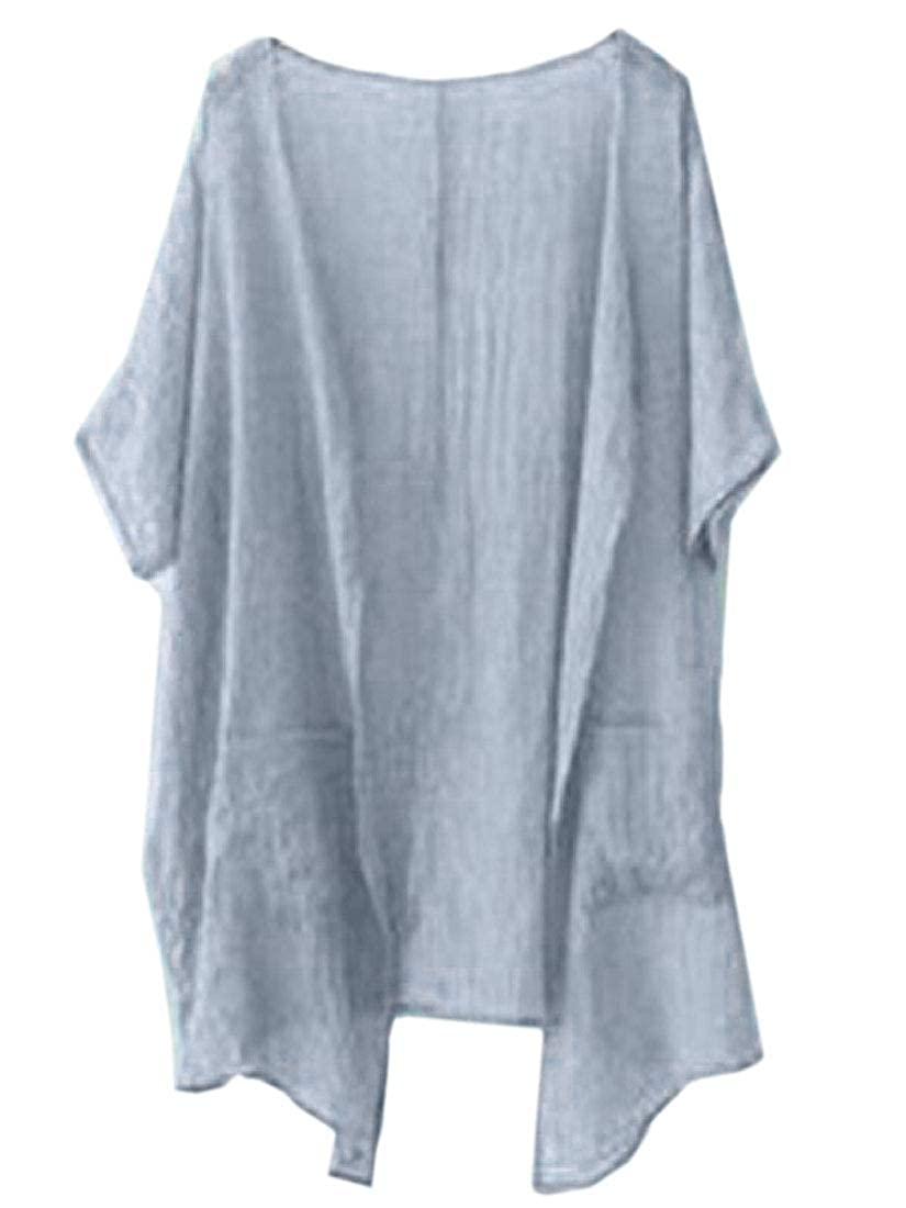dahuo Kimono Cardigan da Donna a Maniche Corte Aperto sul Davanti