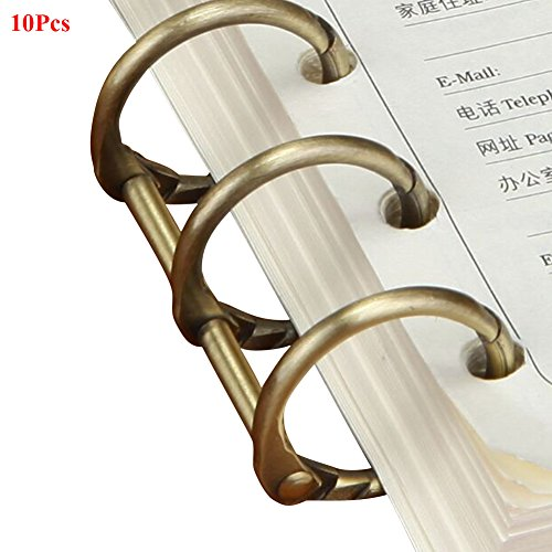 (Exttlliy 10Pcs Metal Loose Leaf Binder 3-Ring Binding Rings Book Binding Spines Combs DIY Notebook Photo Album Rings (Antique Bronze) )