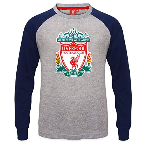 Liverpool FC Official Gift Kids Crest Long Sleeve T-Shirt Grey 8-9 Years (Soccer 8 Shirt Jersey)
