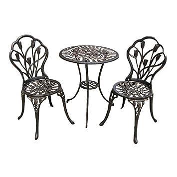 Hodleys Tulipe Salon de Jardin 3 pièces en Fonte d\'aluminium Table ...