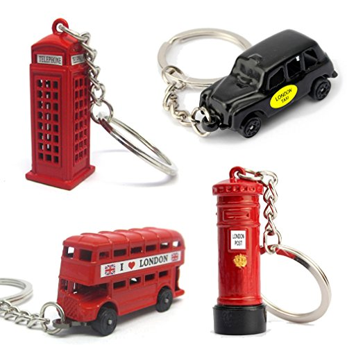 Key Set Telephone - London Souvenir Gift Set of Four Metal London Key Chains with Bus, Taxi, Phone Booth and Postbox