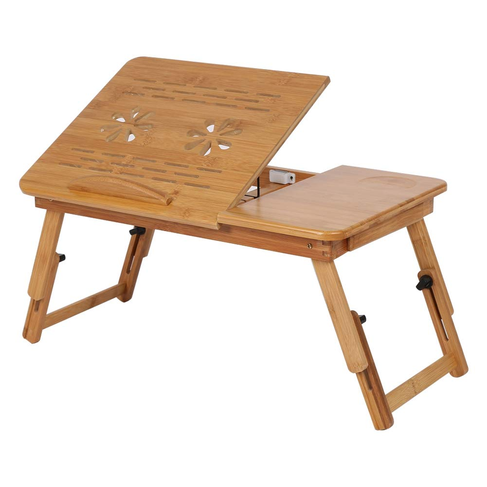 Zouminy Bamboo Laptop Desk 1 Pc R/églable Bamboo Rack Plateau Dortoir Lit Lap Bureau Portable Livre Plateau De Lecture Stand
