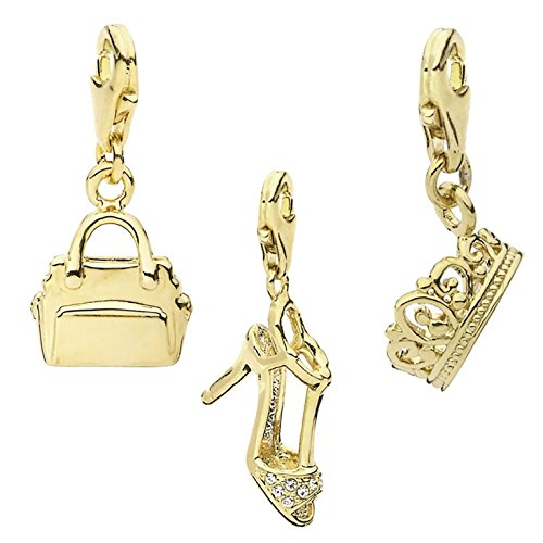 14k Gold Handbag Charm (TFS Jewelry Stiletto, Handbag, Crown 14k Gold Over Brass Clip-On Charm Set)